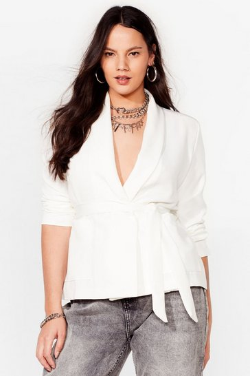 Ivory Play It Smart Plus Belted Blazer
