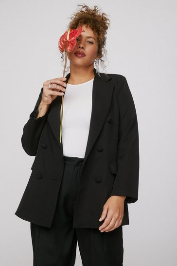 Black Mind Your Business Double Breasted Plus Blazer