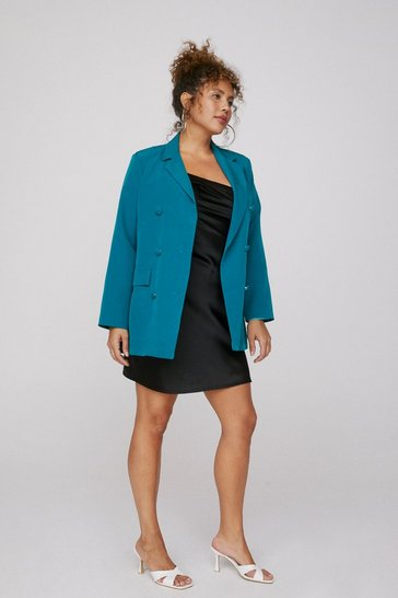 Teal Mind Your Business Double Breasted Plus Blazer