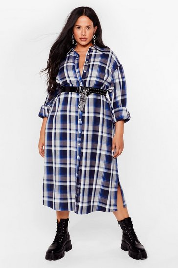 Blue Background Check Plus Midi Shirt Dress