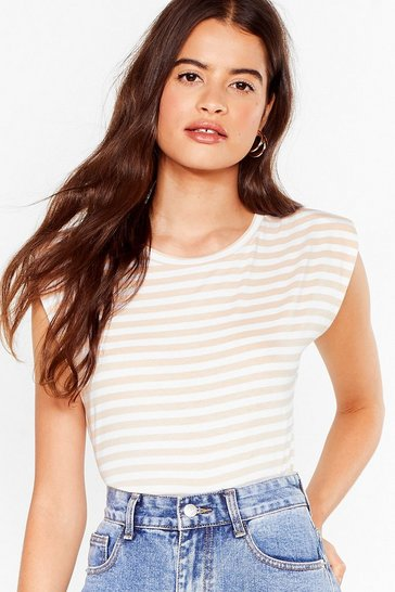 Stone It's Not All Shoulder Pad Striped Tee