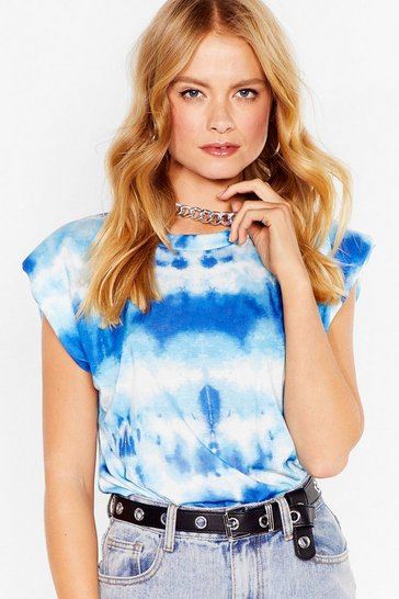 Blue It's Not All Shoulder Pad Tie Dye Tee