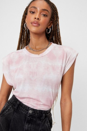Pink It's Not All Shoulder Pad Tie Dye Tee