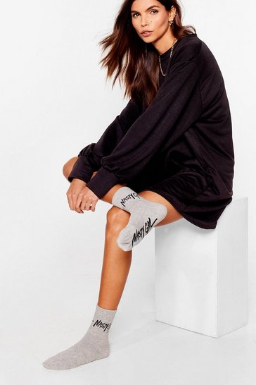 Grey Nasty Gal Word on the Street Ribbed Socks