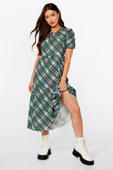 Green Sidewalk Worthy Check Midi Dress