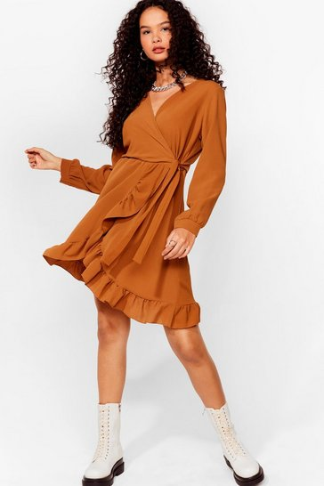 Camel Frill of the Chase Wrap Mini Dress