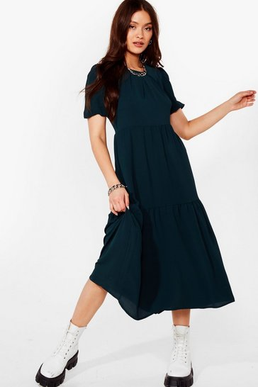 Bottle green Had It Up to Tier Relaxed Midi Dress
