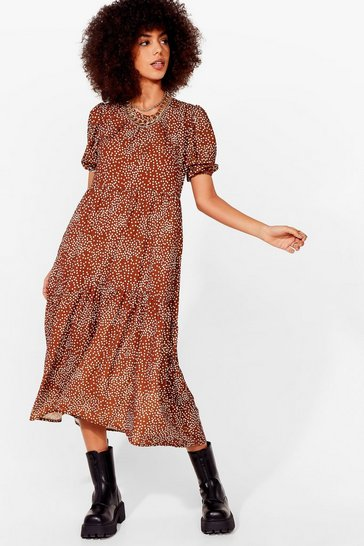 Tan Acting All Spotty Tiered Maxi Dress