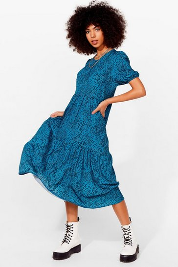 Teal Acting All Spotty Tiered Maxi Dress