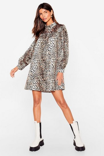 Brown Smock It Outta the Park Animal Mini Dress