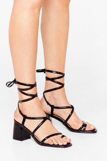 Black Let's Get Back Toe-gether Croc Heeled Sandals