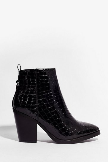 Black Croc 'Em in Their Tracks Wide Fit Heeled Boots