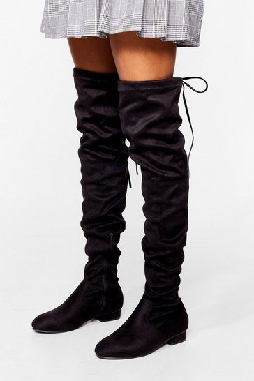 Black Give It All You've Got Over-the-Knee Wide Fit Boots