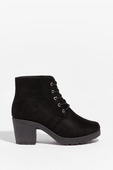 Black Walk All Over Them Wide-Fit Heeled Boots