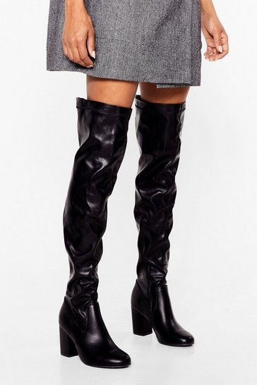 Black It's Over-the-Knee Faux Leather Wide Fit Boots