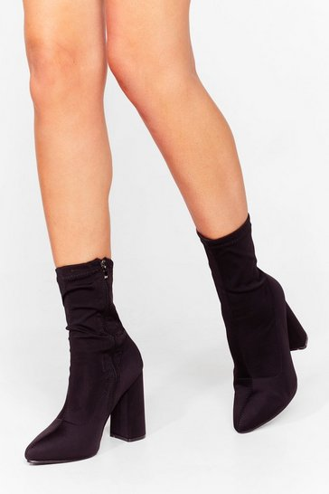Black That's a Stretch Faux Suede Sock Boots