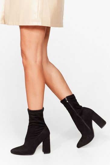 Black Socks to Be You Wide Fit Heeled Boots
