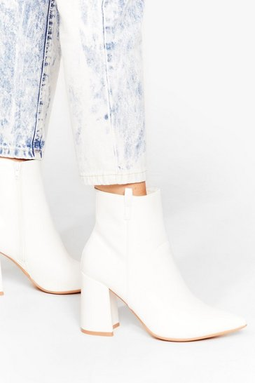White Wide Fit Pointed Toe Ankle Boots