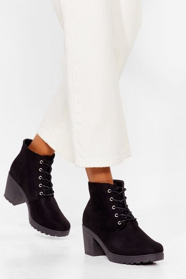 Black Walk All Over 'Em Faux Suede Heeled Boots