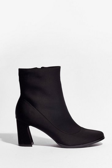 Black We Don't Flare Heeled Sock Boots