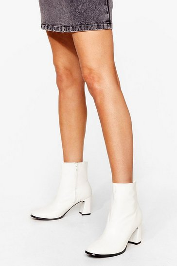 White PU midi flare heel sock Boot