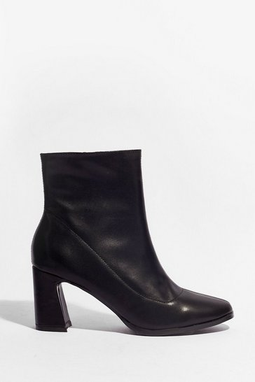 Black We Don't Flare Faux Leather Heeled Boots