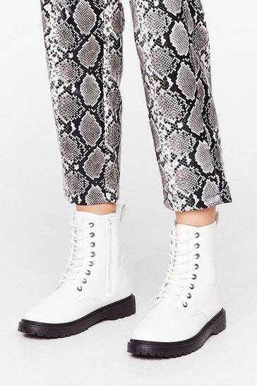 White Wide Fit Lace Up Biker Boots