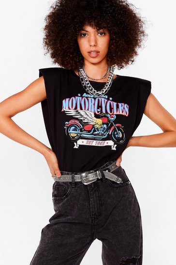 Black 1953 Biker Shoulder Pad Graphic Tee