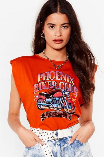 Rust Phoenix Biker Club Padded Graphic Tee