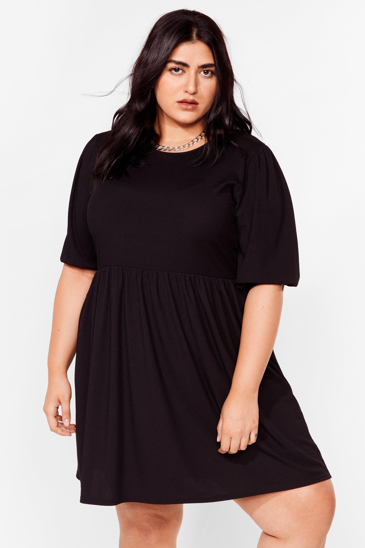 Plus Size Puff Sleeve Rib Smock Dress 2