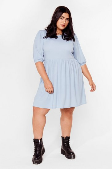Blue You're a Total Smock Out Plus Mini Dress