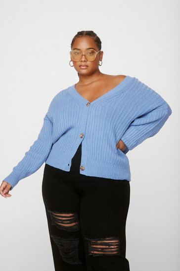 Blue Plus V Neck Knitted Cardigan