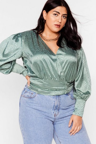 Sage Plus Size Jacquard Satin Wrap Blouse
