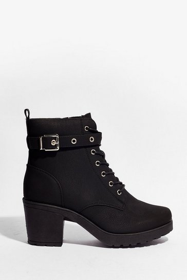 Black Our Minds Faux Suede Up Heeled Ankle Boots