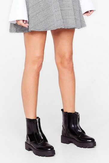 Black Patent Faux Leather Zip Ankle Boots