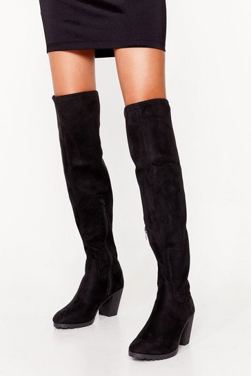 Black Faux suede cleated heeled OTK Boots