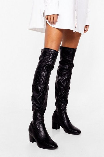 Black Croc the Night Away Over-the-Knee Boot