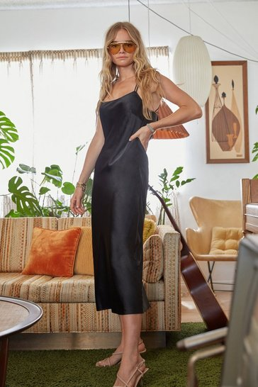 Black Slinky Satin Cowl Neck Midi Dress