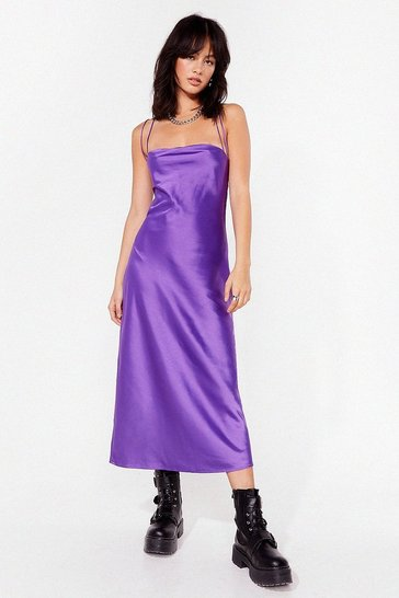 Purple Cowl's It Hanging Satin Midi Dress