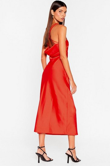 Red Slinky Satin Cowl Neck Midi Dress