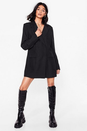 Robe blazer oversize à carreaux à double boutonnage, Black