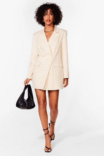 Natural Let's Check It On Mini Blazer Dress