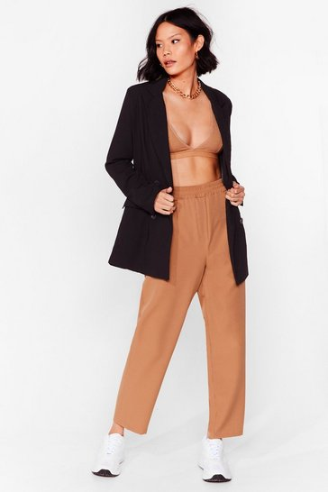 Camel Loose High Waisted Tapered Pants