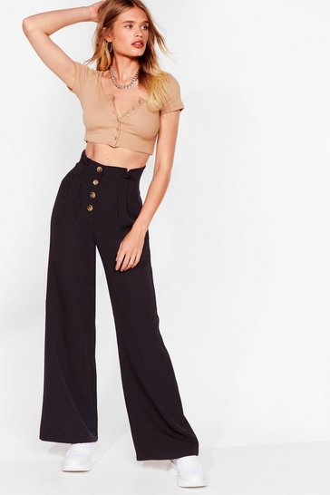 Black Moving Button Up Wide-Leg Pants