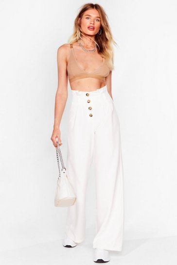 Ivory Moving Button Up Wide-Leg Pants