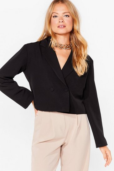Black Stop Short Cropped Double Breasted Blazer