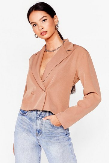 Tan Stop Short Cropped Double Breasted Blazer