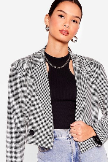 Black We Houndstooth You Cropped Blazer
