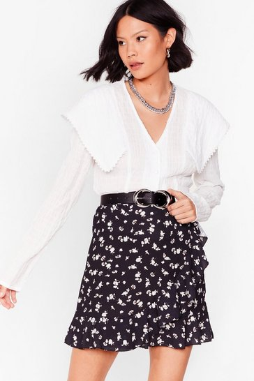 Black The Flower of Love Wrap Mini Skirt