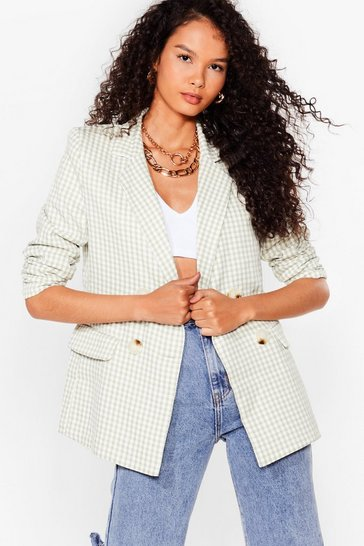 Sage The Checks in the Mail Double Breasted Blazer